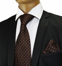 Brown Paisley Crystal Silk Tie by Verse 9