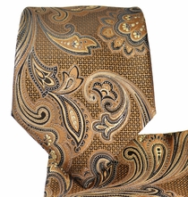 Brown Paisley Necktie and Pocket Square Set