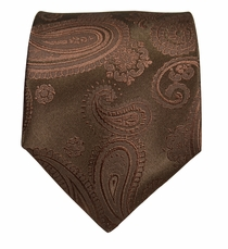 Brown Paisley Paul Malone Silk Necktie (920)