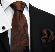 Brown Paisley Paul Malone Silk Necktie Set (920CH)