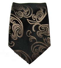 Brown Paisley Slim Silk Tie by Paul Malone