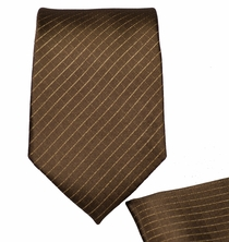 Brown Patterned Skinny Necktie Set (Q27)