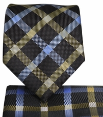 Brown Plaid Necktie and Pocket Square Set