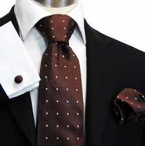 Brown Polka Dot Silk Necktie Set by Paul Malone (925CH)