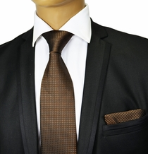 Brown Silk Tie and Pocket Square . Paul Malone Red Line