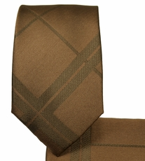 Brown Slim Necktie and Pocket Square Set (Q134)