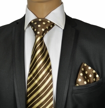 Brown Steven Land Contrast Knot Silk Tie Set