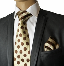 Brown Steven Land Silk Tie and Pocket Square