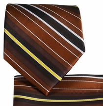 Brown Striped Necktie and Pocket Square