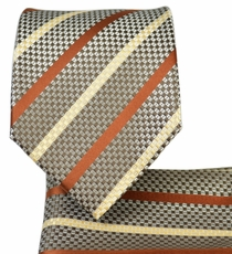 Brown Striped Necktie and Pocket Square Set