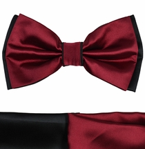Burgundy and Black Bow Tie with 2 Pocket Squares