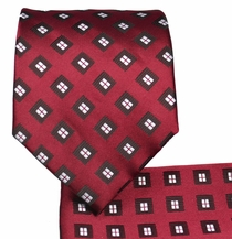 Burgundy and Black Necktie and Pocket Square Set