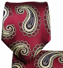 Burgundy and Gold Mens Tie and Pocket Square