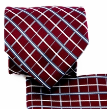 Burgundy and Gray Necktie and Pocket Square (Q578-G)