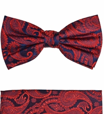 Burgundy and Navy Paisley Bow Tie and Pocket Square Set . Paul Malone . 100% Silk