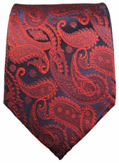 Burgundy and Navy Paul Malone Neck Tie, 100% Silk (464)