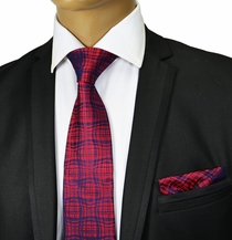 Burgundy and Navy Silk Tie Set , Paul Malone Red Line