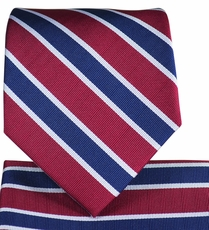 Burgundy and Navy Striped Tie and Pocket Square
