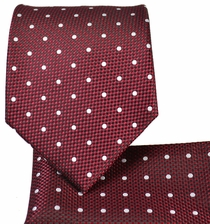 Burgundy and White Necktie and Pocket Square