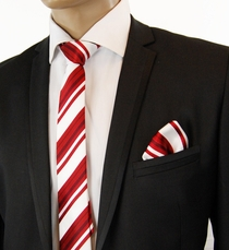 Burgundy and White SLIM Tie Set by Paul Malone