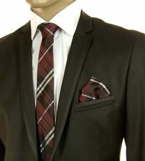 Burgundy, Black and White SLIM Silk Tie Set by Paul Malone (Slim795H)