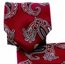 Burgundy Paisley Necktie and Pocket Square (Q577-F)