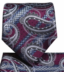 Burgundy Paisley Necktie and Pocket Square Set