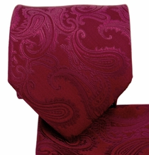Burgundy Paisley Necktie and Pocket Square Set (Q600-G)