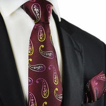 Burgundy Paisley Silk Tie and Pocket Square by Paul Malone