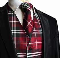 Burgundy Plaid Vest and Necktie