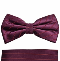 Burgundy Red Paul Malone Bow Tie and Pocket Square . 100% Silk (BT929H)