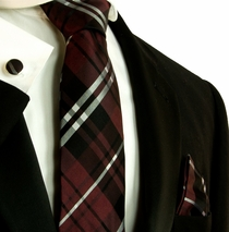 Burgundy Red Plaid Silk Necktie Set by Paul Malone (795CH)