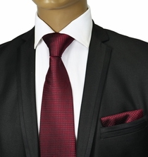 Burgundy Red Silk Tie Set by Paul Malone Red Line