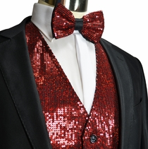 Burgundy Sequin Vest and Bow Tie Set