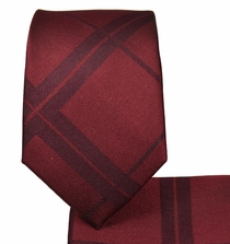 Burgundy Slim Necktie and Pocket Square Set (Q132)