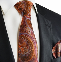 Burnt Henna and Orange Silk Tie and Pocket Square by Paul Malone