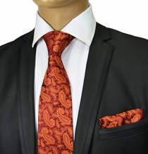 Burnt Orange Paisley Tie Set . Paul Malone Red Line