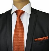 Burnt Orange Silk Tie Set by Paul Malone Red Line