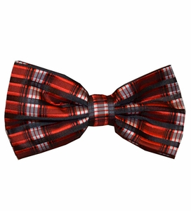 Burnt Red and Black Bow  Tie Set (BT438-O)