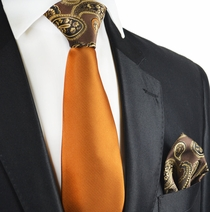Caramel Brown Contrast Tie and Pocket Square Set