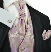 Cashmere Rose and Gold Tuxedo Vest Set by Paul Malone