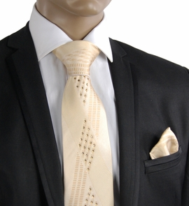 Champagne Crystal Silk Tie a. Pocket Square Set (C61-13)