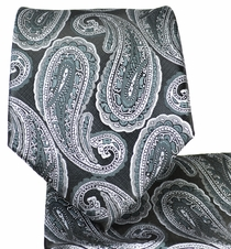 Charcoal Paisley Necktie and Pocket Square Set