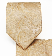 Champagne Paisley Necktie and Pocket Square Set (Q350-D)