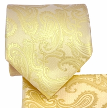 Champagne Paisley Necktie and Pocket Square Set (Q600-I)