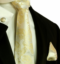 Champagne Paisley Necktie Set by Paul Malone (570CH)