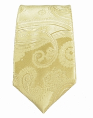 Champagne Paisley Slim Silk Tie by Paul Malone