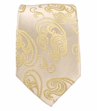 Champagne Slim Silk Necktie by Paul Malone