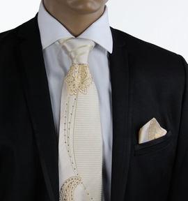 Champagne Steven Land Silk Tie and Pocket Square with Crystals (CR505)