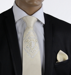 Champagne Steven Land Silk Tie with Crystals (CR601)